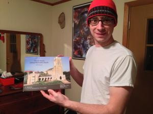 1.13.2013 - Boone is so supportive! Here he is getting ready to put up his 2013 Church Street United Methodist Calendar!