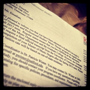 1.16.2013 - My first official acceptance letter.