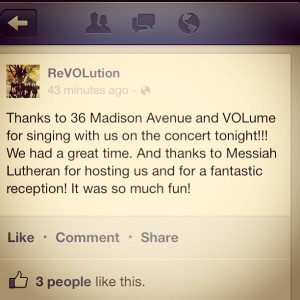 1.24.2013 - A great concert with 36 Madison Avenue and VOLume tonight!