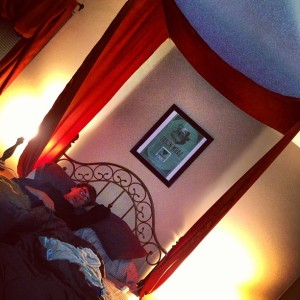 3.31.2013 - Canopy over the bed! Thanks to Kelsey for the idea. It's like Aladdin's palace! @gutheb