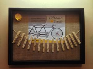 3.8.13 - Made a shadow box with the clothes pins from our around-the-clock shower!