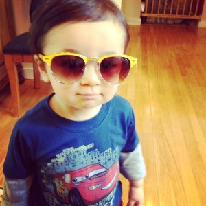 4.1.2013 - My little boy! He's such a cutie pie. And looks good in mommy's sunglasses. Doesn't he? #aprilfools #iteachhissisterpiano #gotcha