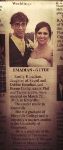 4.28.2013 - Our announcement was in the paper today!!